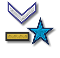 Chevron, Bar and Star Symbol Chenille Patches